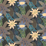 Seamless vector floral pattern in dark tones