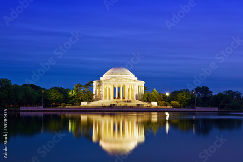 The Jefferson Memorial at dusk, Washington DC, USA