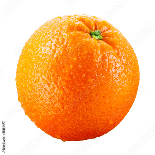 canvas print picture Orange fruit with drops isolated on white background