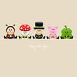 Ladybeetle, Fly Agaric, Chimney Sweeper, Pig & Cloverleaf Beige