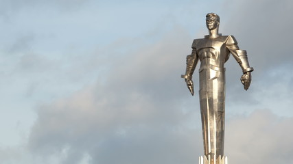 Time lapse of clouds running behind Yuri Gagarin monument.
