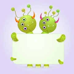 Two Headed Monster Holding Empty Paper