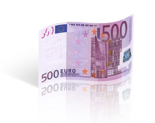 five hundred euro banknote. Isolated on white background