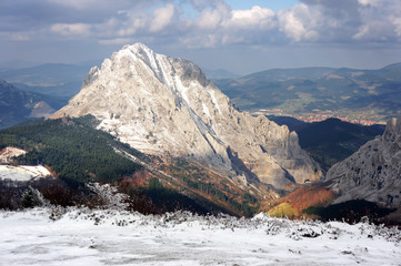 Urkiola mountain range with snow in winter