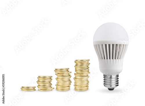 Money saved with LED bulb. Isolated on white background