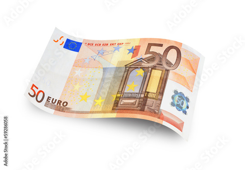Poster Close up fifty euro banknote. Isolated on white background