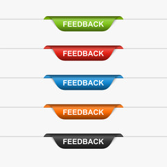 Feedback colorful labels, stickers. Vector illustration