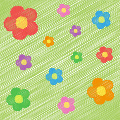 funny bright background with flowers