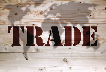 Brown trade article on natural wooden background