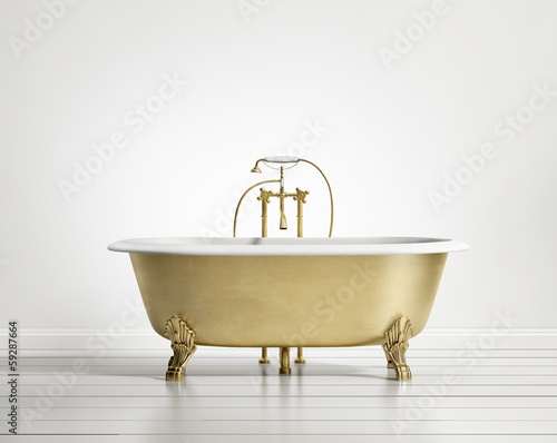 Isolated gold bronze classic bathtub on white wood floor