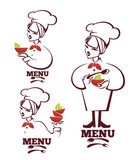 food and cartoon woman chief silhouettes