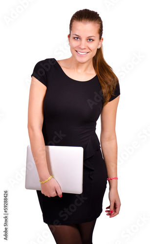 Isolated confident woman portrait with laptop computer.
