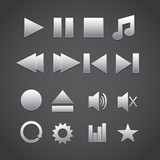 Media player icons. Vector