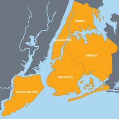 orange map of New York with names of districts
