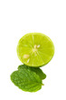 Green lime half and mint leaf on white background