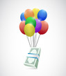 money flying away concept illustration design