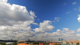 above view Moscow cityscape and blue clouds time lapse