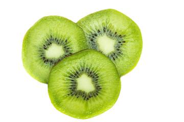 Half of fresh kiwifruit isolated on white
