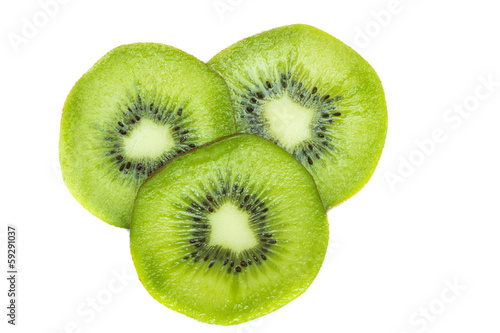 Half of fresh kiwifruit isolated on white