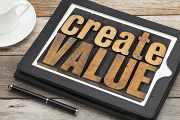 create value on digital tablet