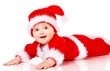 Christmas baby in Santa Claus clothes