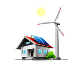 Fototapety Sustainable family house with solar panels and wind turbine