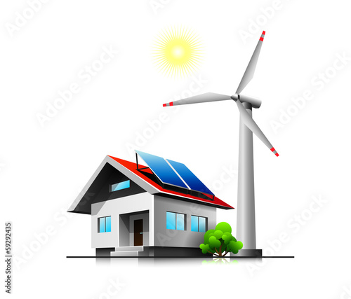 Sustainable family house with solar panels and wind turbine