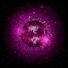 disco ball pink party background ai