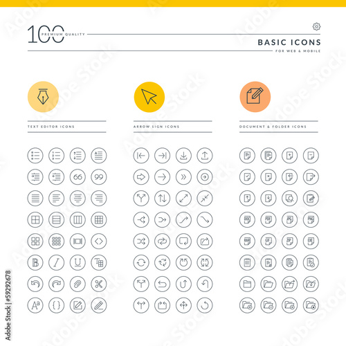 Set of basic icons for web and mobile
