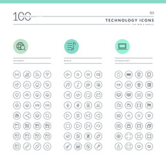 Set of technology icons for web and mobile.