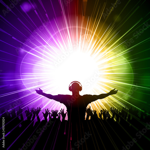 DJ and crowd on purple and green background