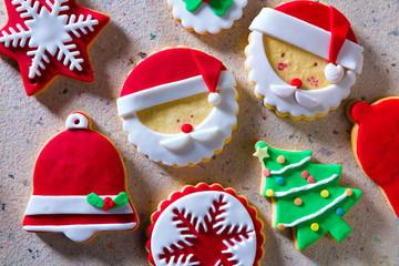 Christmas cookies Xmas tree Santa snowflake on recycled paper