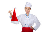 Chef holding chopsticks Christmas cap