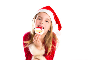 Christmas Santa eating cookie and Xmas blond kid girl
