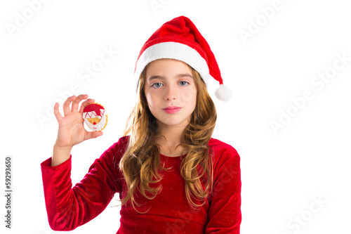 Christmas Santa cookie and Xmas dress kid girl