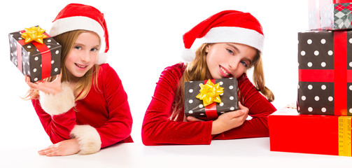 Christmas Santa kid sister girls happy excited with ribbon gifts
