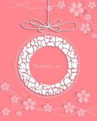 Abstract love and cherry blossom on pink background
