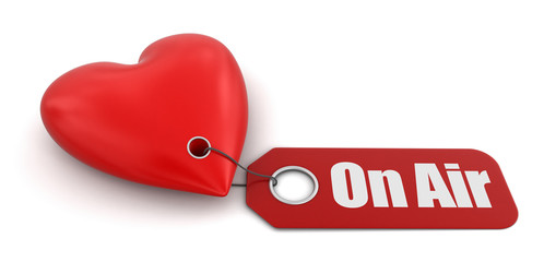 Heart with label on air (clipping path included)
