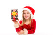 Christmas Santa kid girl happy excited with ribbon gift
