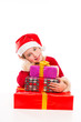 Christmas Santa kid girl happy excited with ribbon gifts