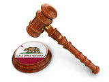 Wooden Mallet and flag Of California (clipping path included)