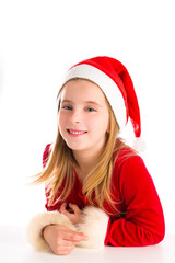 Christmas Santa blond kid girl smiling