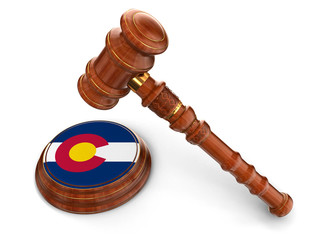 Wooden Mallet and flag Of Colorado (clipping path included)