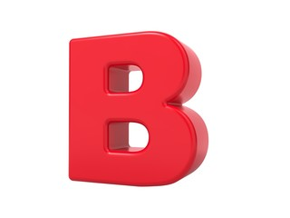 Red 3D Letter B.