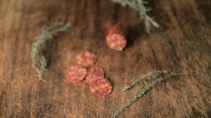 Salami on wooden Table