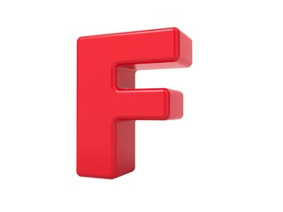 Red 3D Letter F.