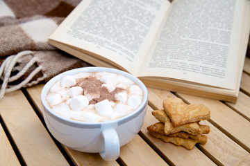 Chocolate drink with marshmallows, blanket and book