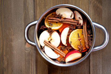 freshly cooked mulled wine  in the pan
