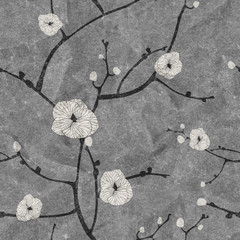 seamless cherry flowers pattern on paper texture