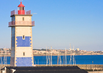 Lighthouse in the port of Cascais. Portugal